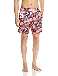 Superdry Men's Synthetic Shorts (5054265365027_M30MP004_Small_Coral Palm)