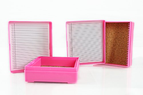 25Pc Microscope Slide Box, Pink