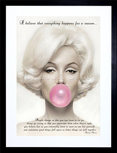 9x7 INCH BELIEVE EVERYTHING HAPPENS REASON MARILYN MONROE QUOTE FRAMED WALL ART PRINT PICTURE PAINTING WOODEN PHOTO FRAME BLACK WHITE OAK BROWN F97X193 (Quote Paintings compare prices)