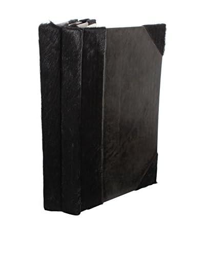 Set of 2 Cowhide Journals, Black