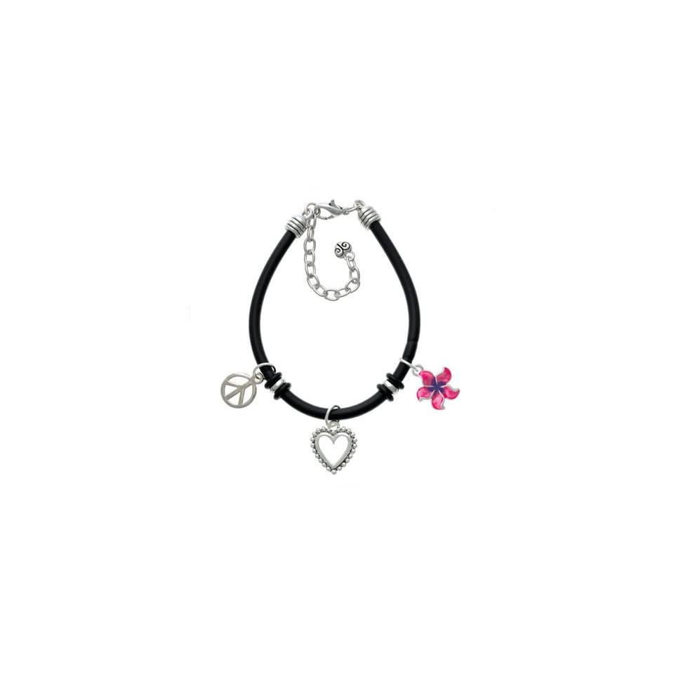 Hot Pink and Purple Plumeria Flower Black Peace Love Charm Bracelet [Jewelry]