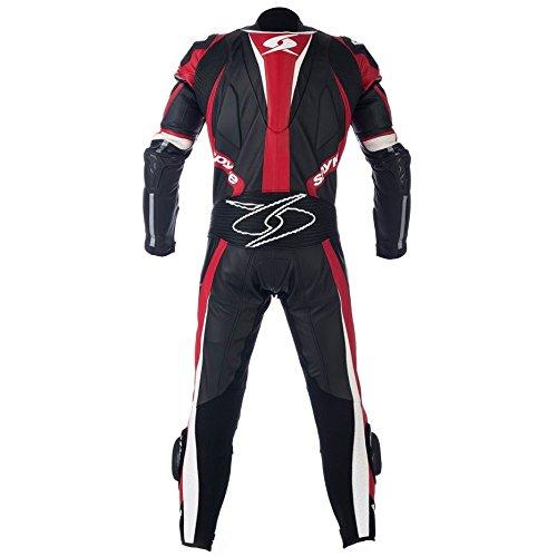 Spyke-TOP-SPORT-MIX-KANGAROO-Tute-in-Pelle-Moto-Per-Uomo-Nero-Antracite-Rosso-Fluorescente-EU50