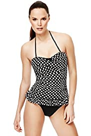 Spotted & Frilled Ruched Swimsuit