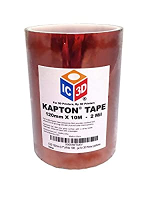 "IC3D 120mm (4.7"") Wide 10M Long Kapton (Polyimide) Tape for 3D Printer platforms"