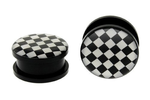 Acrylic Black & White Checkers Plugs 9/16'' (14mm) - Sold as a Pair