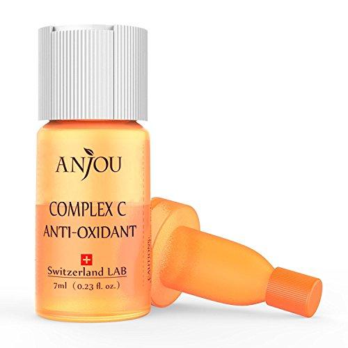 Anjou Siero Vitamina C di Origine Svizzera, Complesso Antiossidante a Base di Vitamina C per il Viso con Acido Ialuronico, Anti-Età, Fiele Individuali per Applicazione Settimanale - 7ml / 0.23fl.oz.