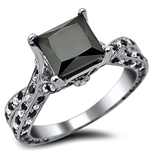 2.62ct Princess Cut Black Diamond Engagement Ring 14k White Gold With a 1.77ct Center Black Diamond and .85ct of Surrounding Diamonds