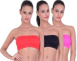 PIFTIF seamless non padded non wire strapless bandeau full side covrage tube bra for women's and girl s fit size ( 28 in to 36 in) BLACK RED RANI