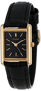 Pulsar Women's PTC384 Gold-Tone Black Leather Strap Watch