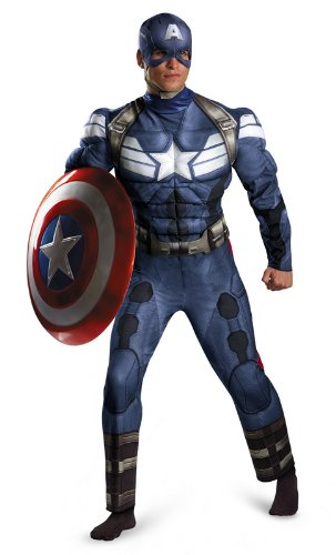 Disguise Men's Marvel Movie 2 Captain America Classic Muscle Costume, XL, XXL