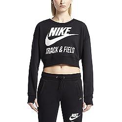 Nike Women's Track & Field Crew Crop Sweatshirt-Black-Large