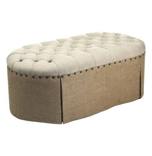 French Country Round Oval Tufted Linen Burlap Skirted Ottoman