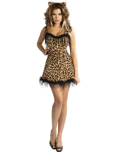 Sexy Short Animal Print Costume Leopard Dress and Cat Ears Womens Theatrical