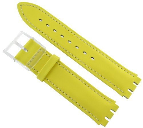 Hirsch Ally 17mm Mens Yellow Watch Band For Swatch