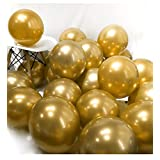 BALONAR 3.2g 100pcs Gold Metallic Chrome Balloon in Blue Green Pueple Silver Gold and Pink for Wedding Birthday Party Decoration (Gold) (Color: Gold)