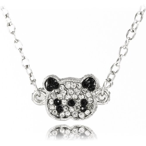 Sterling Silver Plated Adorable Black and Clear Crystal Paved Panda Bear Pendant Necklace Elegant and Trendy