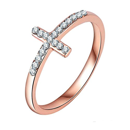 Bishilin Women Rose Gold Plated Sideway Cross Cubic Zirconia Rings Size 6.5