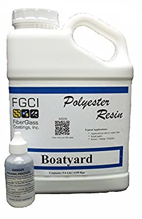Polyester Resin Kit, Boatyard for Fiberglass, Non-Specified Blend, 1 Gallon with 2 oz MEKP