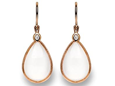bastian inverun - earrings gold rojo with diamond and moonstone - 11448