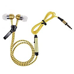 Zipper Earphones In-Ear Metal Zipper Earphones with Mic 3.5mm Jack Earbuds for MP3 / MP4 / Laptops / Computers / All SmartPhones and Tablets