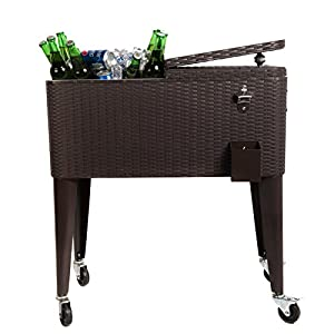 HIO 80 Qt Outdoor Patio Cooler Table On Wheels, Rolling Cooler, Dark Brown Wicker by HIO
