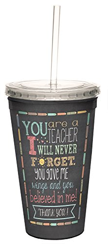Tree-Free Greetings 98218 Jo Moulton Teacher Thanks Double-Walled Cool Cup with Reusable Straw, 16-Ounce