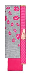Knits n Knots Women's Cotton Silk Unstitched Dress Material (Grey and Pink)