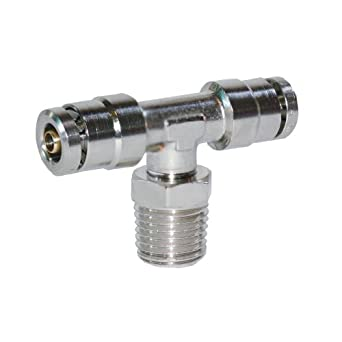 Brennan PCDT2601-B Series, Nickel-Plated Brass Push-to-Connect Tube Fitting, Branch Tee, Tube OD x NPT Male x Tube OD