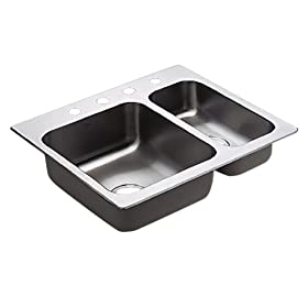 Moen 22238 Camelot Stainless Steel 20 Gauge Double Bowl Drop In Sink