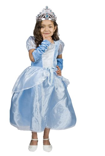 Elsa Princess Costume with Tiara Halloween Size S (4-6) Years