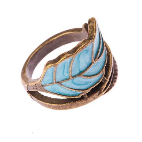Vintage Boho Style Fashion Bronze & Blue Leaf Winding Wrap Finger Ring By VAGA®