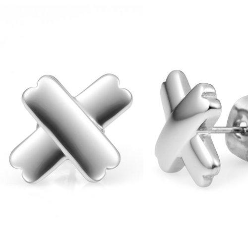 Unique Mens Stainless Steel Cross Stud Earrings Silver