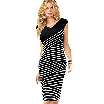 Waltzmart Women V Neck Multilayer Stripe Splicing Bodycon Pencil Mini Dress