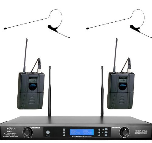 Awisco Uhf 822B670B 2 Channel 64 Selectable Frequency Black Color Mini Headset Wireless Microphone