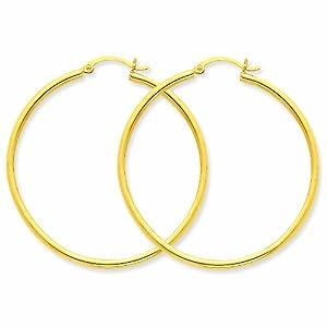 14k Polished 2mm Round Hoop Earrings