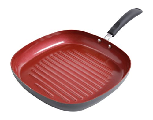 Gibson Home 107247.01 Hummington  11-Inch Ceramic Non-Stick Square Fry Pan, Red (Red Grill Pan compare prices)