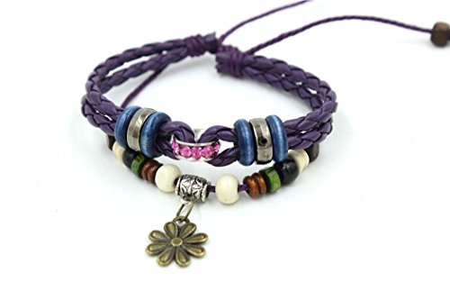 November's Chopin (TM) Unique Flower Button Purple Leather Adjustable Wrap Bracelet