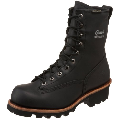 "Chippewa Men's 73112 8"" Waterproof Lace To Toe Logger Boot,Black Oiled,7.5 M US"