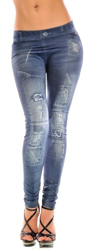 Women Denim Print Fake Jeans Look Footless Ankle Leggings Pants