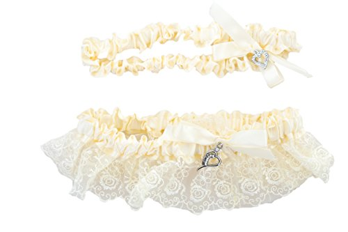 Vintage Wedding Lace Garter Set - Ivory W/ Lace - One to Toss and One to Keep