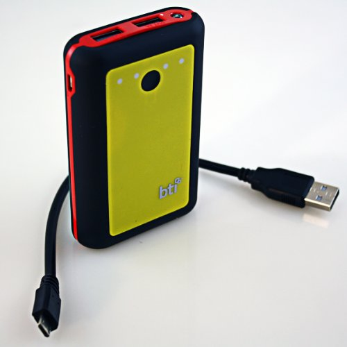 BTI 7800mAh Powerbank for Motorola Atrix with LED Flashlight - Black Color, Red Trim, Yellow Face sale off 2015