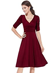 HE03632BD12, Brick-Red, 10US, Ever Pretty Prom Dresses With Sleeves 03632