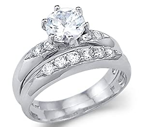 Size- 6.5 - Solid 14k White Gold Solitaire Engagement Wedding Set CZ Cubic Zirconia Ring Round Cut 1.5 ct