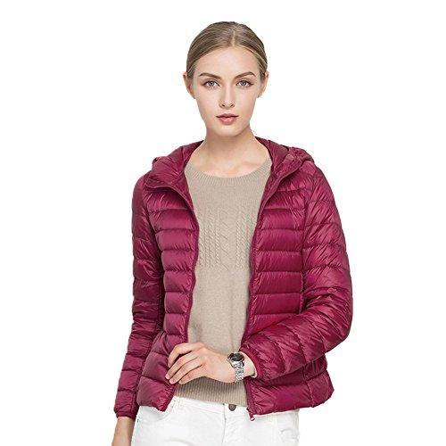 Molly Donne Casuale Ultralight Caldo Foldable Cappuccio Cappotto Rose