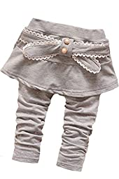 Baby Girl\'s Toddler 1 Piece Bowknot Polka Dot Culottes Pants Leggings(XL,Gray)
