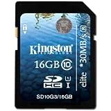 Kingston 16GB Class 10 UHS-I Elite - Tarjeta de memoria SDHC de 16 GB (class 10, UHS I, 30 MB/s), negro