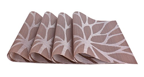 SiCoHome Placemats PVC Dining Room Placemats for Table Heat Insulation Stain-resistant Woven Vinyl Kitchen Placemat Vinyl Placemats,set of 4 (Lotus Leaf Brown)