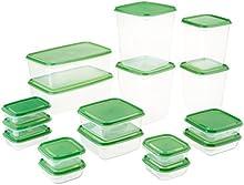 Comprar Recipiente para guardar alimentos PRUTA, juego de 17, Transparente, Verde, incluye: 17 unidades comida en tamaños de entre 9 x4cm a 23 x 16 x 8 cm. Apta para microondas-safe; Calientan la comida hasta 100 °C, congelador-safe. Apta para lavavajillas-s
