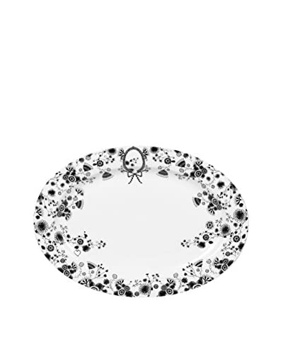 Miss Blackbirdy Oval Plate, White