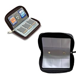Foxnovo Portable 22 Slots SD SDHC MMC CF Micro SD Memory Card Holder Pouch Case Zippered Storage Bag Protector (Black)